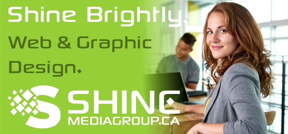 Shine Media Ad with girl holding iPad